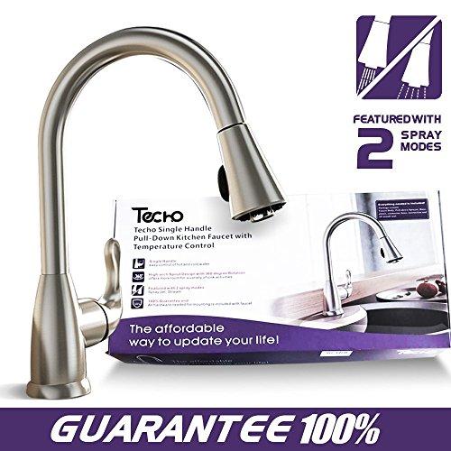 Matte Nickel Deck (Modern Stainless Steel Kitchen Sink Faucet with Pull Down Sprayer, Single Handle Pull Out Kitchen Faucets Brushed Nickel by TECHO)