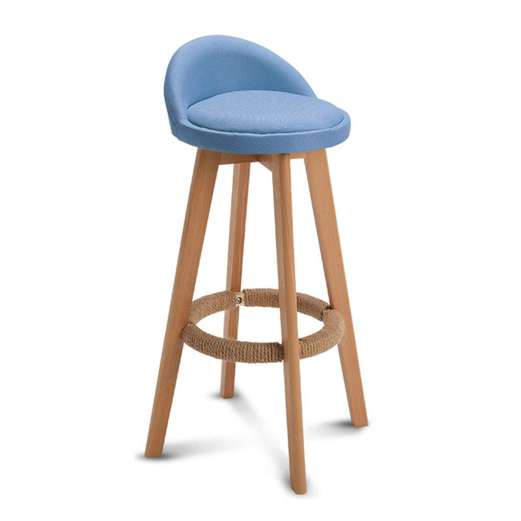 bluee QIQI-DENG Solid Wood High Stool, Back Bar Stool Multicolor redating Seat Living Room Kitchen (color   White)
