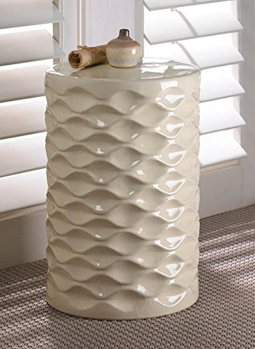 Accent Plus Ivory Faceted Ceramic Stool (Side Ceramic Table)