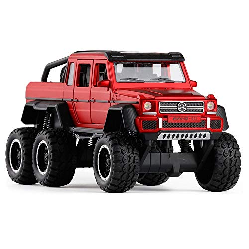(Bseion Six-Wheeled Big-Footed Off-Road Vehicle 1:32 Alloy Sound and Light Inertia Car Friction Toy Car Children's Birthday Truck Collection Furnishings ( Color : Red ))