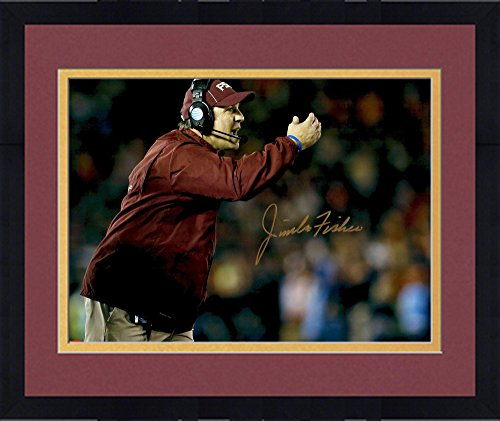 """Framed Jimbo Fisher Florida State Seminoles (FSU) Autographed 16"""" x 20"""" Pointing Photograph - Fanatics Authentic Certified"""