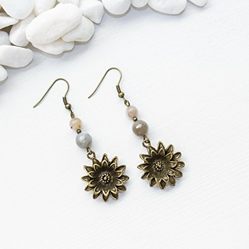 Lotus Flower Earrings - Natural Moonstone Gemstone Unique Spiritual Healing Jewelry - June Birthstone, Handmade in Phoenix, AZ