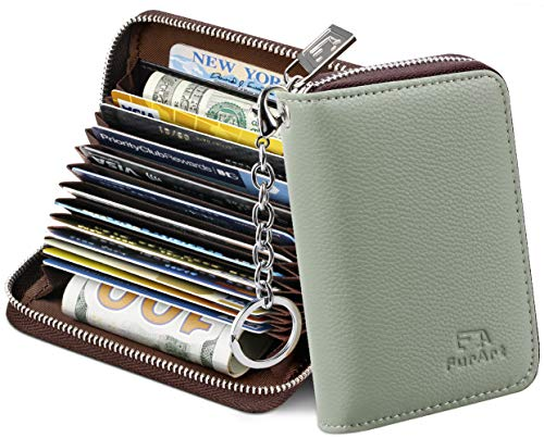 FurArt Credit Card Wallet, Zipper Card Cases Holder for Men Women, RFID Blocking, Key Chain, 15/26 Slots, Compact Size