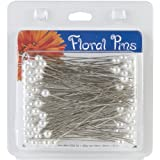 Darice 3-Inch Floral Pins, Round, White, 144-Pack