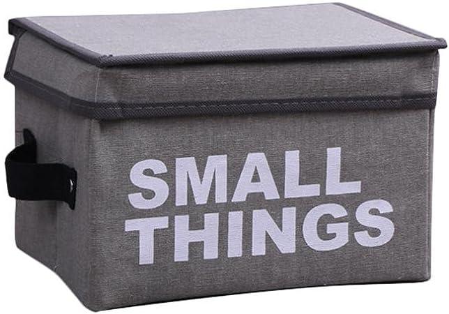Pawaca Caja de almacenaje plegable con tapa, diseño de letras decorativas de tela, con dos asas para juguetes, libros, aperitivos, armario y organizador de dormitorio, Gris, S (9.45