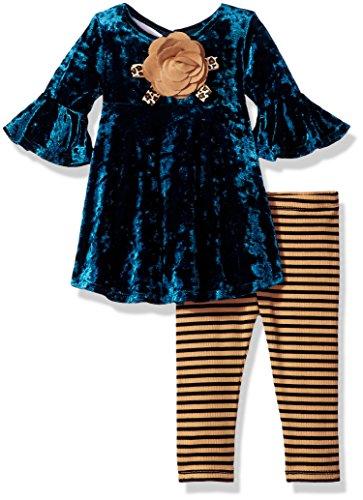 Baby Girl Velvet Bow Dress (Bonnie Baby Baby Girls Dressy Legging Set, Teal, 0-3 Months)