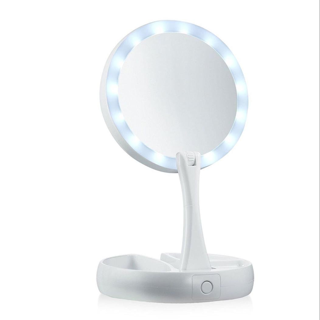 Kanzd New Women Make-up Mirror LED Collapsible Make-up Mirror Retractable Make-up Mirror (White)