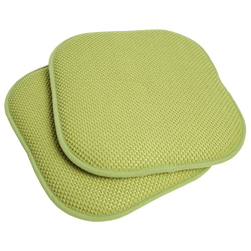Sweet Home Collection Memory Foam Honeycomb Nonslip Back Chair/Seat Cushion Pad (2 Pack), 16 x16, Green