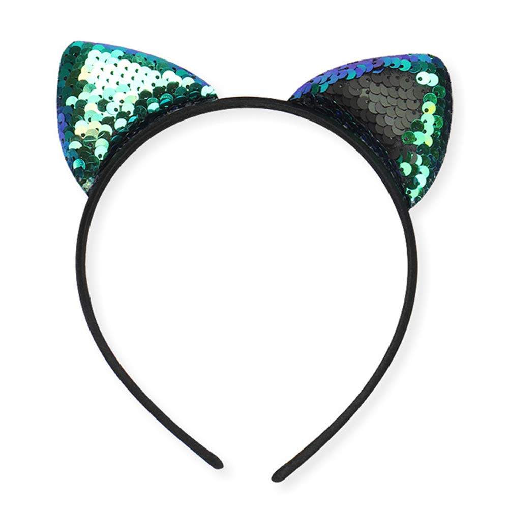 Amazon.com : Sequins Hairband, Glitter Cat Ears Headbands for Girl, Shine Sequins Kitty Cats Crown Hair Hoop Hairband Hair Accessories for Girls(Peacock ...