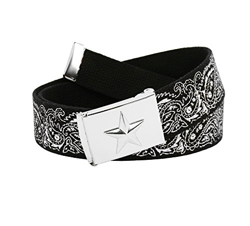 Men's Silver Flip Top Nautical Star Belt Buckle with Printed Canvas Belt XX-Large Black Bandana Print - Printed Canvas Belt