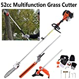 Iglobalbuy 52CC Gas Multi-functional 5 in 1 Pole Hedge Trimmer, Trimmer, Brush Cutter, Pole Chainsaw Pruner & 43 inch Extension Pole