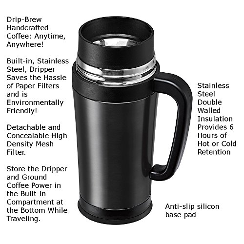 Pour Over Coffee Maker With Built In Filter : Consumer Associates Pour Over Coffee Maker Thermal Travel Mug Built-in Stainless Steel Dripper ...