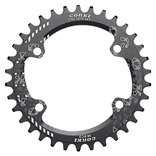 corki 96 BCD Single Speed Narrow Wide Chainring 32T 34T 36T 38T Round for Shimano M6000 M7000 M8000 M9000 Crankset Only