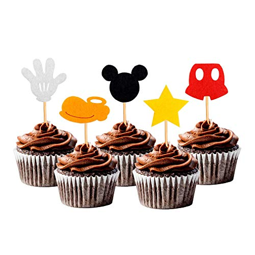 30PCS Mickey Inspired Cupcake Toppers Kids Birthday Party Cake Decoration Supplies]()