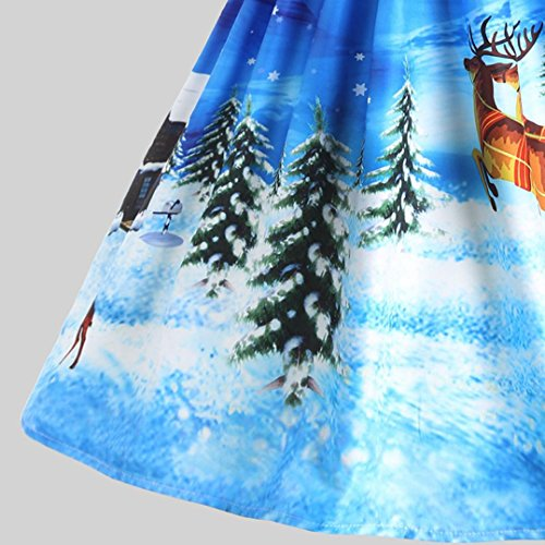 Short Swing Dress Bolayu O Neck Printed A Christmas Line Vintage Sleeve Women's A Skirt 0wrF0P7q