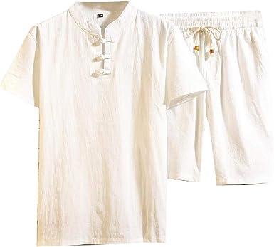 Cromoncent - Conjunto de Camisa y pantalón Corto para Hombre, Estilo Chino, Manga Corta, algodón y Lino - Blanco - Large: Amazon.es: Ropa y accesorios