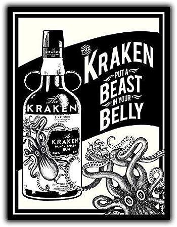 Placa de pared de metal con diseño de ron Kraken: Amazon.es ...
