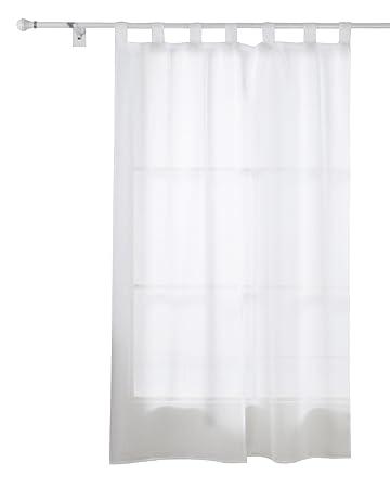 Deconovo Vorhang Transparent Gardinen Wohnzimmer Voile Schlaufenschal 245x140 Cm Weiss