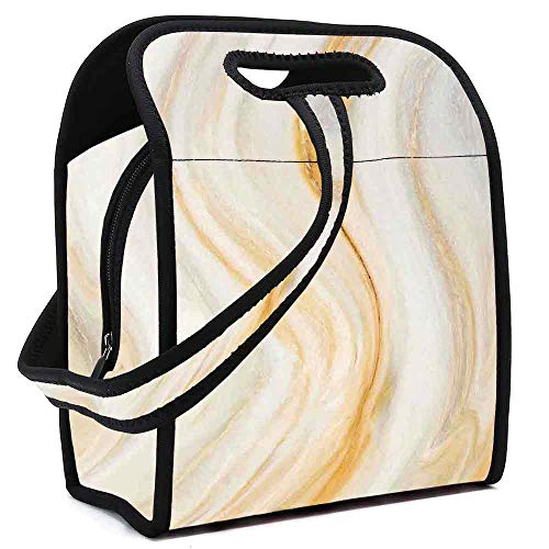 - Apartment Decor Portable Neoprene Lunch Bag,Psychedelic Wavy Brushstroke Marble with Blurry Splash Effects Art Decor for Work Office Picnic Travel Mom Bag,Square(8.5''L x 5.5''W x 11''H)