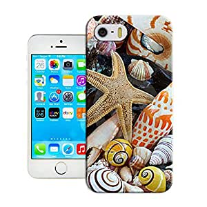 Amazing Hard Plastic iPhone 5/5s Case, Fate Inn-369.Nautilus shell, cone Sea shells and sea star and on a beach-iPhone 5/5s case