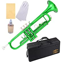 Glory Brass Bb Trumpet with Pro Case +Care Kit, Green, More COLORS Available ! CLICK on LISTING to SEE All Colors