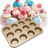 12 Cups Oven Cake Mould Mini Muffin Bun Cupcake Baking Bakeware Kitchen (Gold)