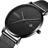 Men Minimalist Quartz Watch Black Stainless Steel Mesh Strap Casual Analog Watch with Date Display