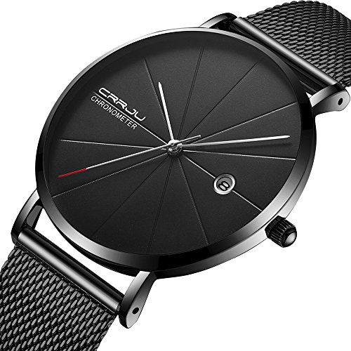 Men Minimalist Quartz Watch Black Stainless Steel Mesh Strap Casual Analog Watch with Date Display (Strap Watch Casual Mens)