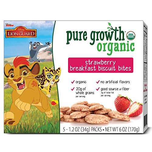 Pure Growth Organic Lion Guard Breakfast Biscuit Bites, Strawberry, 6 Ounce (Pack of (Lion Bite)