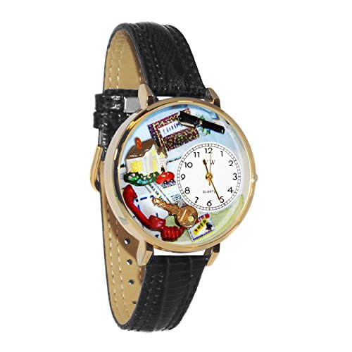 Whimsical Watches Unisex U0610006 Realtor Black Skin Leather Watch (Oval Italian Charm Watch)