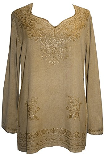 720 B Medieval Renaissance Embroidered Top Blouse (XL/1X, Camel) -