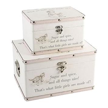 Set Of 2 Baby Girls Keepsake Boxes   Storage Trunk U0027What Are Little Girls  Made