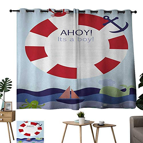Tankcsard Grommet Customized Curtains Ahoy Its a Boy Announcement Card Inspired Composition Maritime Funny Sea Animals Theme Multicolor Print Curtain Bedroom Curtain W84 xL72 -