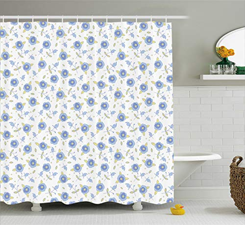 Ambesonne Floral Shower Curtain, Flourishing Summer Rose Flowers in Blue Colors Leaves Dots, Cloth Fabric Bathroom Decor Set with Hooks, 70