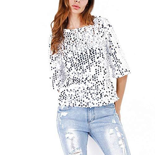 Camicetta Donna Estivi Eleganti Moda Tshirts Paillettes Manica 3/4 Rotondo Collo Chic Shirt Party Casual T Shirts Moda Giovane Accogliente Ragazza Silber Farbe
