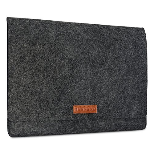 KANVASA Felt Laptop Sleeve 15 15.6 Inch Anthracite - Premium Notebook Ultrabook Bag With Brown Leather Attachment - Case For Samsung ASUS Acer Lenovo HP Dell & more - Soft Protection For Your Device ()