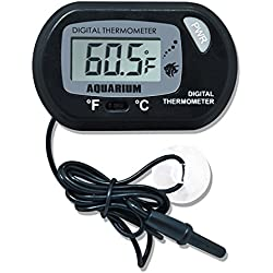2 Pack Digital Thermometer for Fish Tank Aquarium Reptile Terrarium Switchable Celsius and Fahrenheit with Probe (Black)