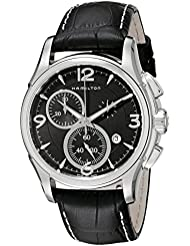 Hamilton Mens H32612735 Jazzmaster Stainless Steel Watch with Black Leather Band
