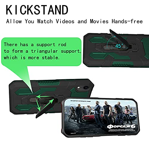 HAMGEEN Compatible for iPhone XR Case Kickstand Case with Belt Clip Shockproof Dustproof Hard PC + Soft Silicone TPU Dual Layer Protective Cover Non-Slip Bumper Phone Case for iPhone Xr Green