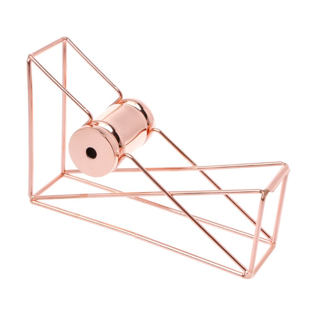 Genenic Rose Gold Tape Dispenser, Metal Wire Tape Cutter Home Office School Desk Accessory, Rose Gold