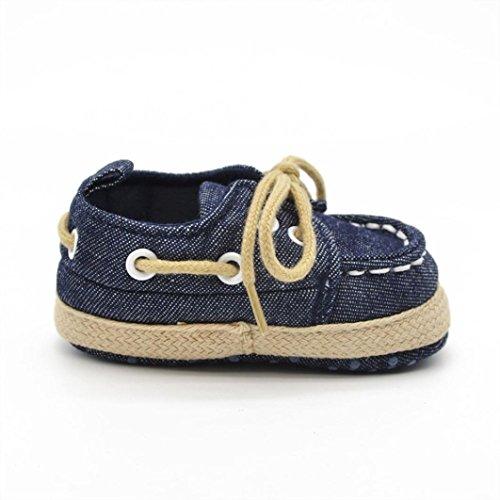 Voberry® Newborn Baby Boys' Premium Soft Sole Infant Prewalker Toddler Sneaker Shoes (0~6 Month, Dark Blue) - Image 3