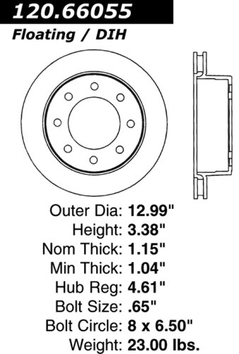 Centric Parts 120.66055 Premium Brake Rotor with E-Coating