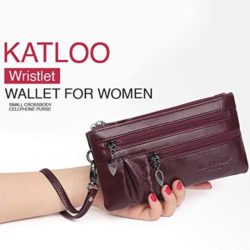 katloo Bolsos Bandolera Mujer, Pequeño Monedero para Teléfono Móvil Bolsos de Cuero Monedero para Mujeres Cartera de Muñeca para Chicas Bolsa para ...