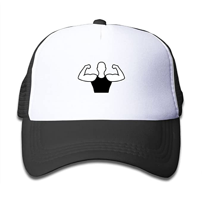 9d19a5c094242 Image Unavailable. Image not available for. Color: WLF Boys&girls Strong Man  Human Figure Muscle Kids Adjustable Mesh Hat Trucker Cap