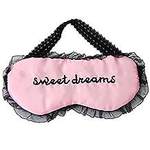 Comfortable Cute Lace Sleeping Eye Mask Blindfold Shade Sleep Aid Satin Pink