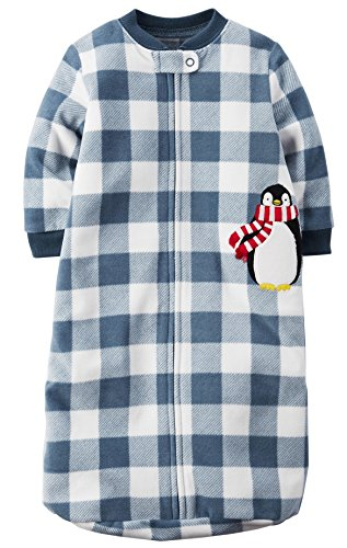 - Carters One Piece Zoo Animals Micro Fleece Sleep Bag or Sack (0-9 Months, Blue Check Penguin)