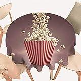 "haommhome Modern Tassel Tablecloth Retro Style Popcorn Art Image Home Cafe Design Kitchenware Cardboard Vintage Cinema Round Tablecloth D 60"" Light Red White"