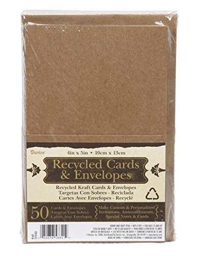 Recycled Blank Cards (100 RECYCLED KRAFT GREETING CARDS 4.25x5.5