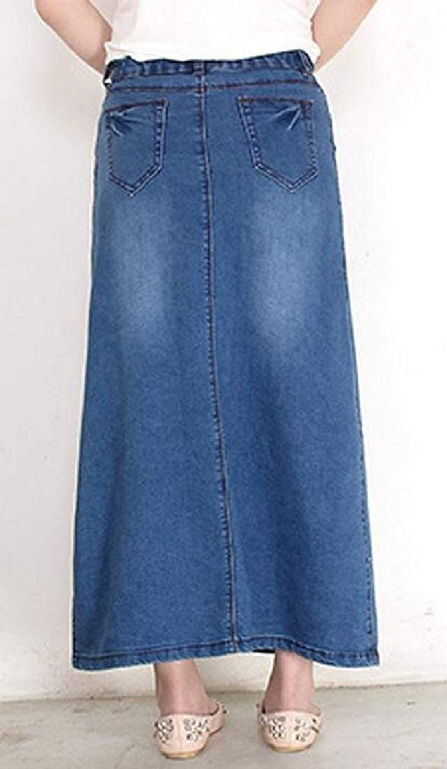 6a6cf7bd1 Women Casual Maxi Jean Skirt High Waist A-Line Long Denim Skirts at Amazon  Women's Clothing store: