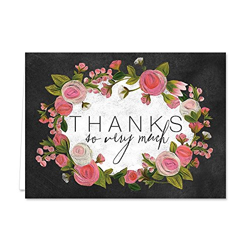Chic Chalkboard Roses Thank You Note Card Pack - Set of 36 cards blank inside - with white envelopes